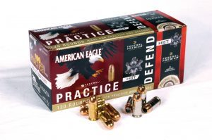 Federal's Practice & Defend ammunition combines 20 of their HST hollowpoints with 100 rounds of ballistically matched American Eagle ball ammunition. The combo packs are available in .380, 9mm, .40 and .45 ACP.