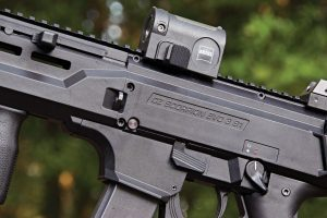 The CZ carbine features a polymer shell, and both the receiver and handguard feature a monolithic optics rail.