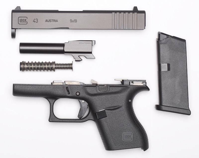 Field stripped Glock 43