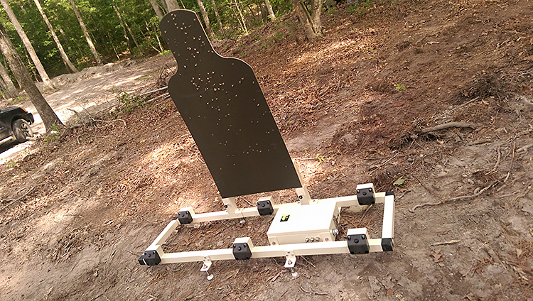 This photo shows the H-Bar using a military standard cardboard target.