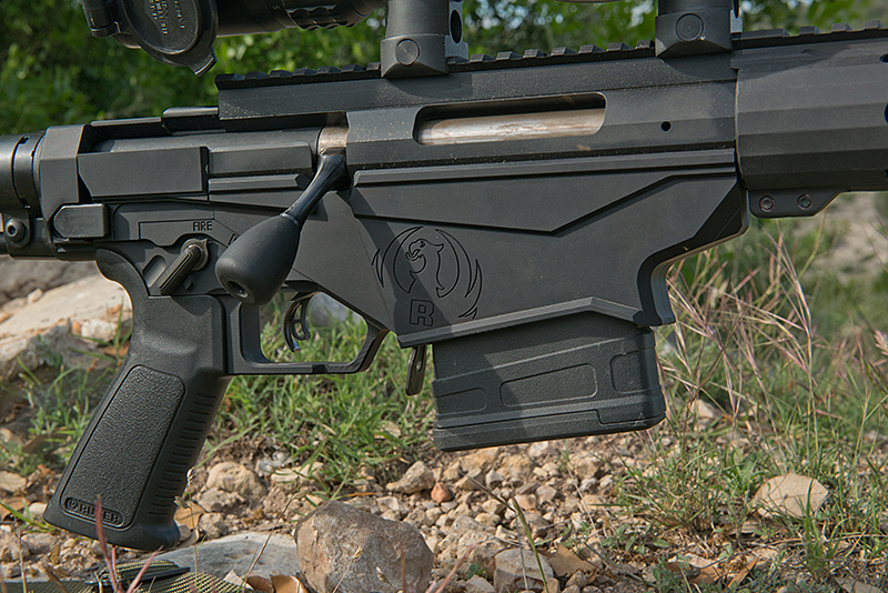 "The 7075-T-6 lower consists of ""halves"" that accept multiple magazine platforms using the patented ""multi-magazine interface."""