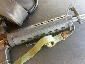 The author liked the slender feel of the PKMR hand guard, especially the side texture and forward hand stop.