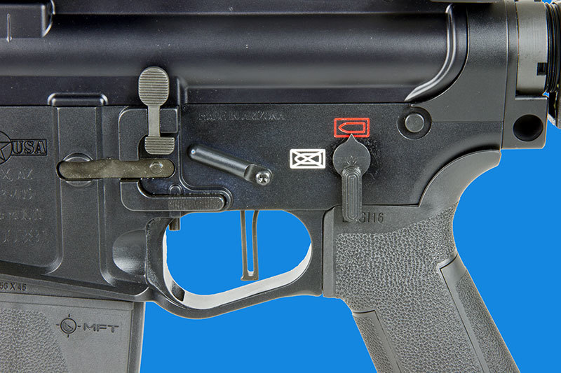 Not only is the safety selector ambidextrous, but POF has designed a bolt hold open button located in front of the trigger.